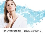 young sensual woman in bathrobe ... | Shutterstock . vector #1033384342