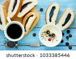 easter bunny roll with cream ...   Shutterstock . vector #1033385446