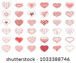 heart icons. red hearts set... | Shutterstock .eps vector #1033388746