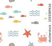 sea vector seamless pattern... | Shutterstock .eps vector #1033389616