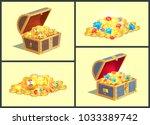 treasures in wooden chests ... | Shutterstock .eps vector #1033389742