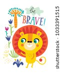 poster with little lion for... | Shutterstock .eps vector #1033391515