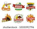 pizzeria and pizza restaurant... | Shutterstock .eps vector #1033392796