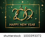 2019 happy new year background... | Shutterstock .eps vector #1033393372