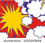 pop art style background with... | Shutterstock .eps vector #1033393858