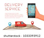 delivery service by van. car...   Shutterstock .eps vector #1033393912