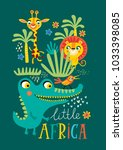 poster with little african... | Shutterstock .eps vector #1033398085