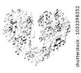 heart of silver music note... | Shutterstock .eps vector #1033398352