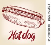 hot dog fast food hand drawn... | Shutterstock .eps vector #1033401535