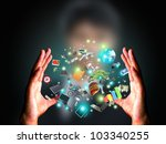 man holding object   Shutterstock . vector #103340255
