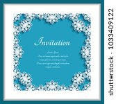 square frame with lace border... | Shutterstock .eps vector #1033409122
