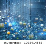abstract internet connection... | Shutterstock . vector #1033414558
