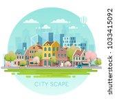 spring cityscape.vector... | Shutterstock .eps vector #1033415092