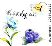 summer flowers and blueberries... | Shutterstock . vector #1033416112