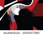 fashion woman in pop art style. ... | Shutterstock .eps vector #1033417582