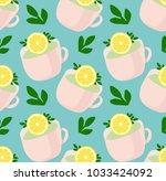 pattern of lovely tea mugs with ...   Shutterstock .eps vector #1033424092