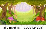 bright fairy tale forest with... | Shutterstock . vector #1033424185