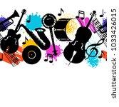 jazz music seamless pattern... | Shutterstock .eps vector #1033426015