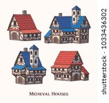 medieval ancient buildings set... | Shutterstock .eps vector #1033436302