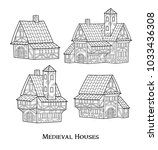 medieval ancient buildings set... | Shutterstock .eps vector #1033436308