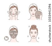 steps how to apply facial mask. ... | Shutterstock . vector #1033441396