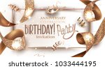 birthday party banner with... | Shutterstock .eps vector #1033444195