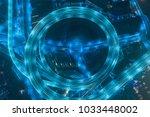 circular illuminated elevated... | Shutterstock . vector #1033448002