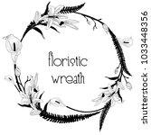 black hand drawn floristic... | Shutterstock .eps vector #1033448356