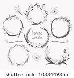 black hand drawn floristic...   Shutterstock .eps vector #1033449355