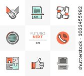 semi flat icons set of business ... | Shutterstock .eps vector #1033455982