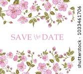 blooming sakura tree branch on... | Shutterstock .eps vector #1033461706
