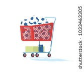 vintage style red shopping cart ... | Shutterstock .eps vector #1033463305