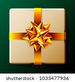 wrapped gift box with gold... | Shutterstock .eps vector #1033477936