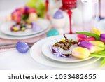 beautiful table setting with... | Shutterstock . vector #1033482655