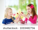two pretty little girls eating... | Shutterstock . vector #1033482736