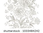 peonies and roses. floral... | Shutterstock .eps vector #1033484242