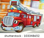 Fire truck to the rescue - stock photo