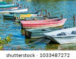 row of old vintage colorful... | Shutterstock . vector #1033487272