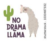 cute llamas alpaca with cactus... | Shutterstock .eps vector #1033487332