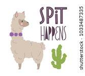 cute llamas alpaca with cactus... | Shutterstock .eps vector #1033487335