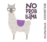 cute llamas alpaca with glasses ... | Shutterstock .eps vector #1033487338