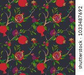 seamless pattern with twigs and ...   Shutterstock .eps vector #1033487692