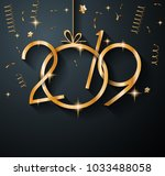2019 happy new year background... | Shutterstock . vector #1033488058