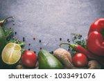 arrangement of mixed vegetables ...   Shutterstock . vector #1033491076