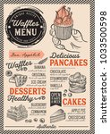 waffles and crepes restaurant... | Shutterstock .eps vector #1033500598