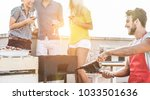 group of young friends having... | Shutterstock . vector #1033501636