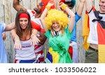 group of happy sport supporters ... | Shutterstock . vector #1033506022