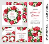 Stock vector set of wedding invitations red and white flowers on white background 1033519882