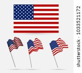 united states flag waving... | Shutterstock .eps vector #1033521172