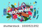 bright and colorful card for... | Shutterstock . vector #1033521352